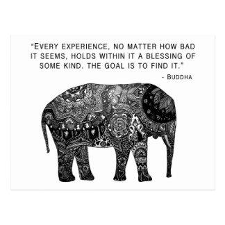 Buddha-Hennastrauch-Klugheits-Elefant Postkarte