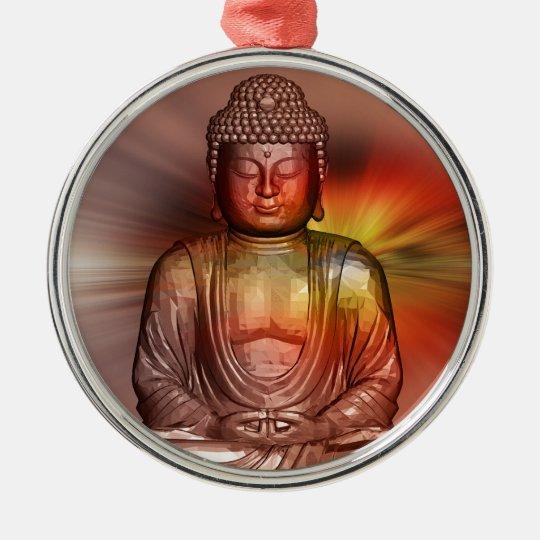 Buddha II Rundes Silberfarbenes Ornament