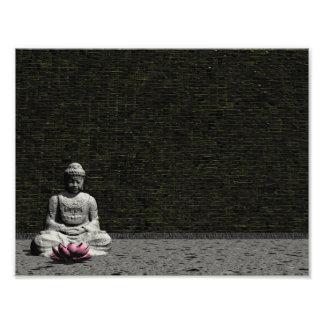 Buddha im grauen Raum - 3D übertragen Fotodruck