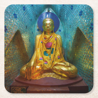 Buddha in der verzierten Nische Rechteckiger Pappuntersetzer