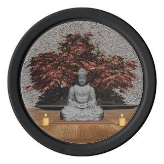 Buddha in einem Raum - 3D übertragen Poker Chips