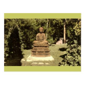 Buddha in japanischem Garten Vintages 1915 Postkarte