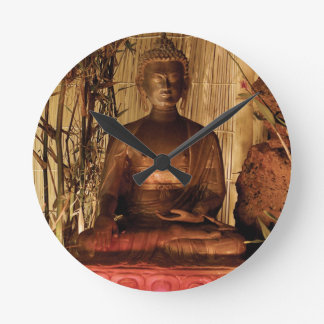 BUDDHA: Kupferne Statue Runde Wanduhr