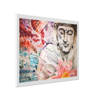 Buddha-Lotoswatercolor-Leinwand-Druck 18x24 Leinwanddruck