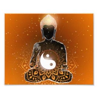 Buddha-Meditation Ying Yang Entwurf Fotodruck