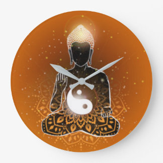 Buddha-Meditation Ying Yang Entwurf Große Wanduhr
