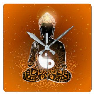 Buddha-Meditation Ying Yang Entwurf Quadratische Wanduhr