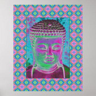 Buddha-Pop in der Magenta und im Türkis Poster