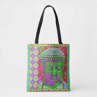 Buddha-Pop in Grünem und im Rot Tasche
