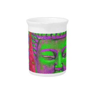 Buddha-Pop mit Patchwork-Grenzen in Grünem und im Getränke Pitcher