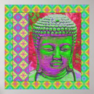 Buddha-Pop mit Patchwork-Grenzen in Grünem und im Poster