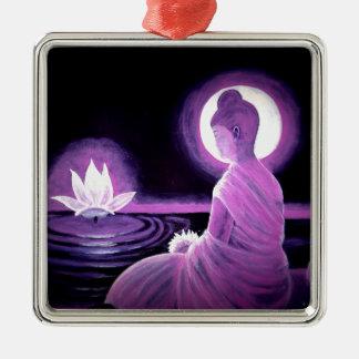 Buddha Quadratisches Silberfarbenes Ornament