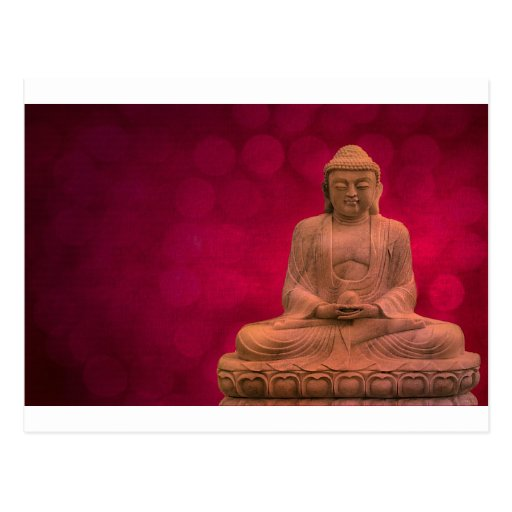 buddha red postkarte