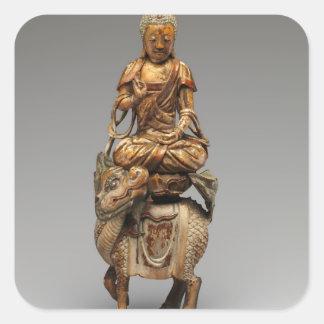 Buddha Shakyamuni mit begleitenden Bodhisattvas Quadratischer Aufkleber