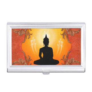 Buddha-Silhouette mit glühendem Licht Visitenkarten Dose