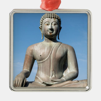 Buddha-Statue, Sri Lanka Quadratisches Silberfarbenes Ornament