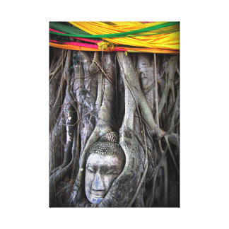 Buddha und die Baum-Buddhismus-Thailand-Fotografie Leinwanddruck