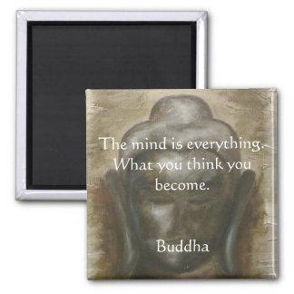 Buddha-Zitat auf gemaltem budha Quadratischer Magnet