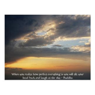 Buddha-Zitat - wenn Sie feststellen, wie perfekt Postkarte