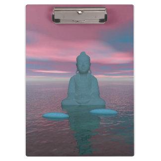 Buddhablau und -schritte grau klemmbrett