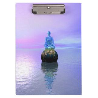 Buddhablau und -welt klemmbrett