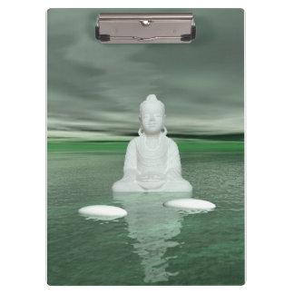 Buddhagrün und -schritte weiß klemmbrett