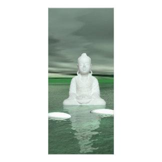 Buddhagrün und -schritte weiß werbekarte