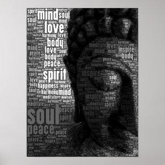Buddhistische Wörter von Klugheit Posterdruck