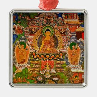 Buddhistischer Buddhismus Buddhas, der Boho Böhmen Quadratisches Silberfarbenes Ornament