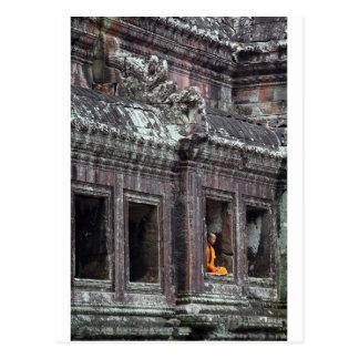 Buddhistischer Mönch meditierender Angkor Wat Postkarte
