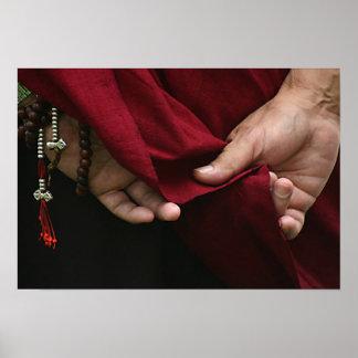 Buddhistischer Mönch-Sonderkommando übergibt Foto Poster