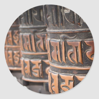 Buddhistischer runder Aufkleber der Gebetsräder