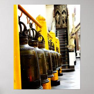 Buddhistischer Tempel-Bell-Reise-Plakat Thailands Poster