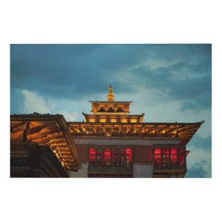 Buddhistisches Dzong Dach Holzdruck