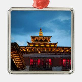 Buddhistisches Dzong Dach Silbernes Ornament