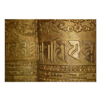 Buddhistisches Goldgebets-Rad-Foto Poster
