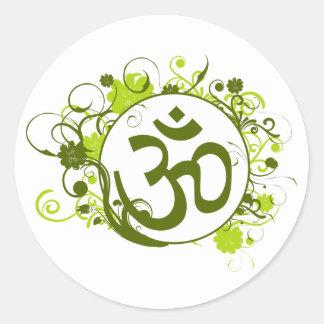 Buddhistisches grünes Blumenom Runder Aufkleber