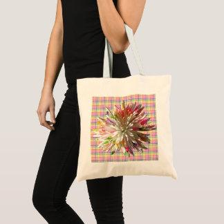 Budget-Tasche - gemalte Spinnen-Mama auf Karos Tragetasche