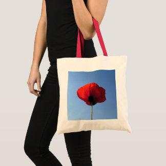Budget-Tasche - rote Mohnblumen-blauer Himmel Tragetasche