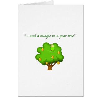 Budgie in einem Birnen-Baum Karte