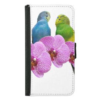 Budgie mit lila Orchidee Samsung Galaxy S5 Geldbeutel Hülle