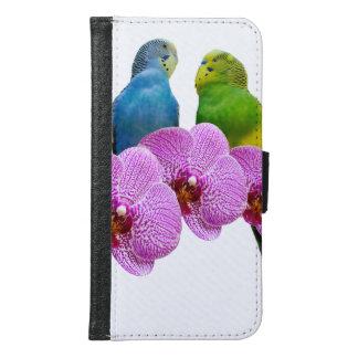 Budgie mit lila Orchidee Samsung Galaxy S6 Geldbeutel Hülle