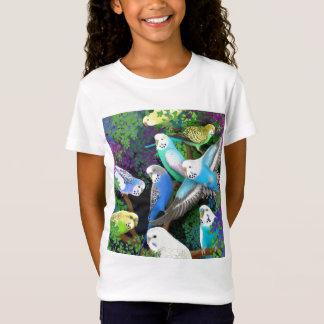 Budgie Parakeets-und Farn-Mädchen-Baby - Puppe T-Shirt