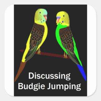 Budgies, das Budgie Springen bespricht Quadratischer Aufkleber