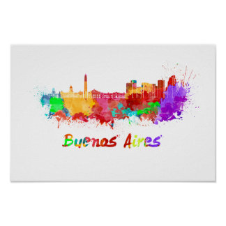 Buenos Aires skyline im Watercolor Poster