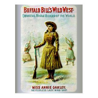 Buffalo Bills wildes Westplakat Annie Oakley Postkarte
