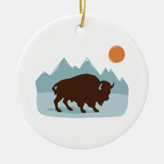 Büffel-Berge Keramik Ornament