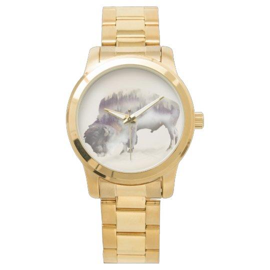 Büffel-doppelte Belichtung-amerikanische Armbanduhr