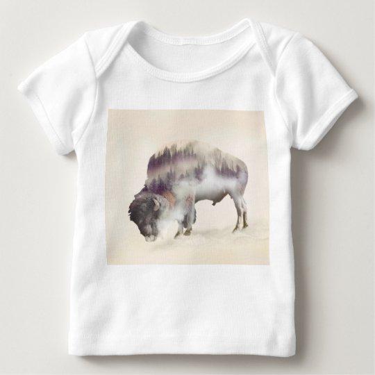 Büffel-doppelte Belichtung-amerikanische Baby T-Shirt