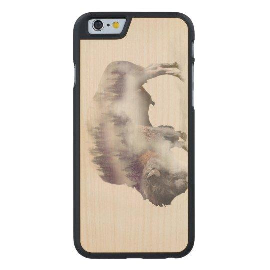 Büffel-doppelte Belichtung-amerikanische Carved® iPhone 6 Hülle Ahorn